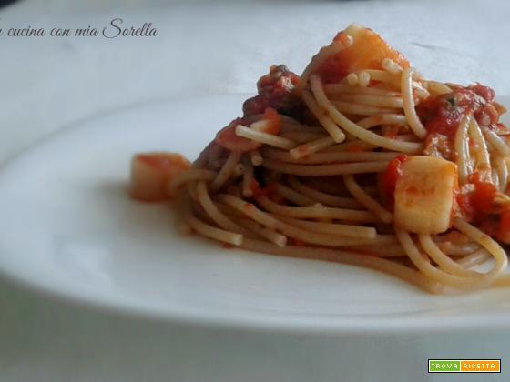 Spaghetti integrali vongole e surimi