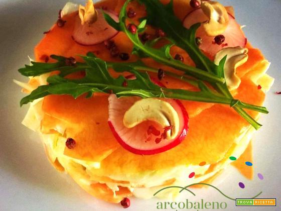 Raw Food: Zucca gialla in insalata con Finocchi, Ravanelli, Rucola e maionese di Anacardi