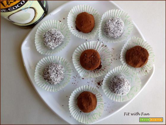 Tartufi 3 Ingredienti al Cocco e Cioccolato Proteici e Senza Cottura