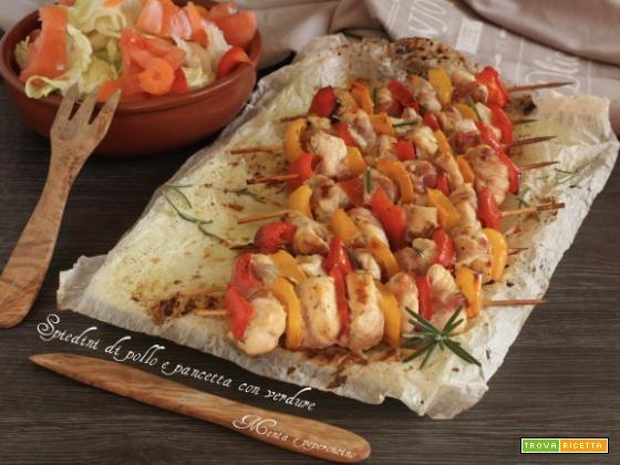 Spiedini di pollo e pancetta con verdure