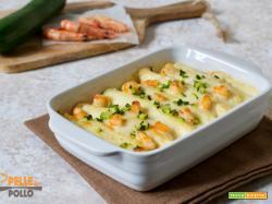Cannelloni di crepes con gamberi e zucchine