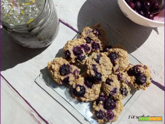 Biscotti Cookies Facili 4 Ingredienti con Avena e Mirtilli