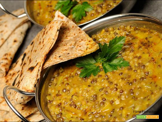 Paratha a modo mio con curry di lenticchie