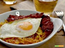 Uova fritte, rosti e pancetta, perfette per un brunch