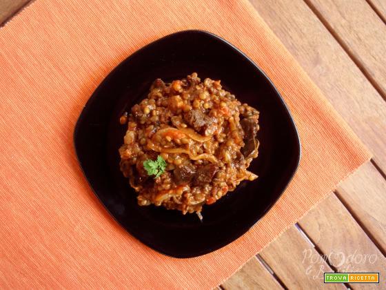 Spezzatino di soia, funghi e lenticchie