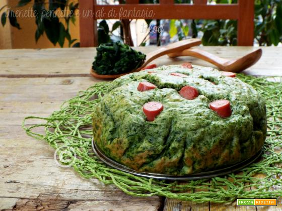 Torta salata spinaci e wurstel