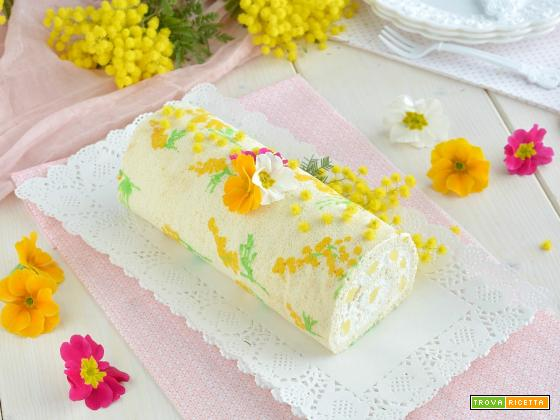 Rotolo mimosa con crema al mascarpone e ananas