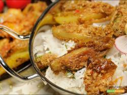 Scalogni al tamarindo e cocco con il riso e polpette