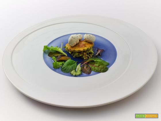 A…mare – cecina di piselli con crema di tofu, verza e misticanza