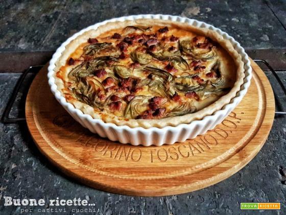 Torta salata carciofi pancetta e Pecorino