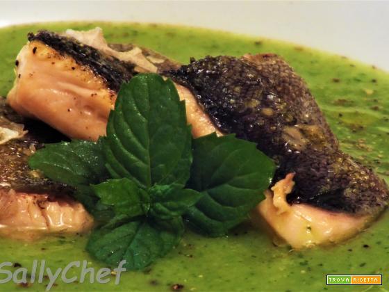 crema di zucchine e pesce d'acqua dolce, auguri anticipati.