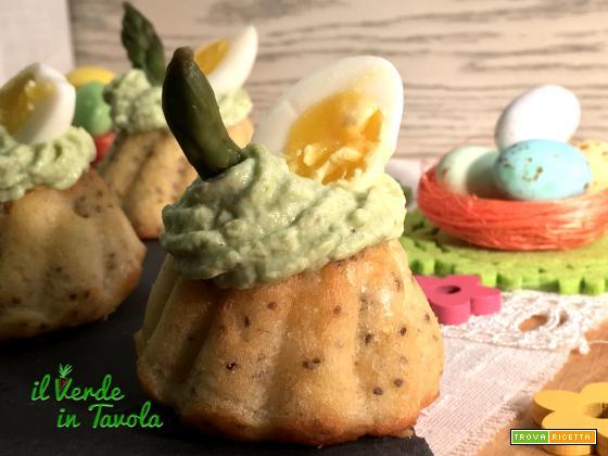 Ciambelline salate con mousse di ricotta agli asparagi