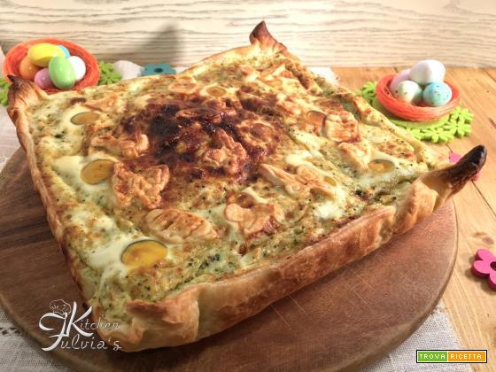 Quiche di Pasqua con uova di quaglia, cavolfiore e broccolo