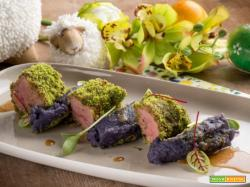 Lombo di agnello con purè di patate viola: ricercatezza e colore
