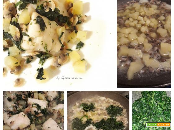 Merluzzo con vongole, cicoria e patate