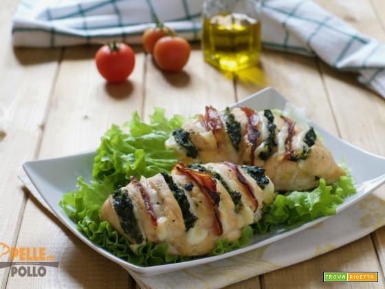 Petti di pollo a fisarmonica con erbette e pancetta