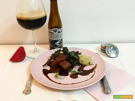 Agnello glassato alla birra e miele, melanzan, cioccolato e cips di cavolo nero