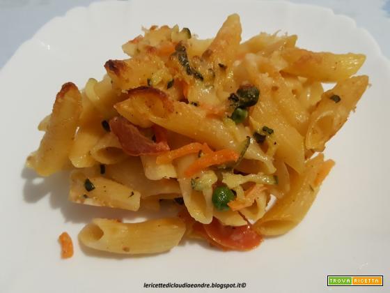 Pasta al forno con zucchine e carote