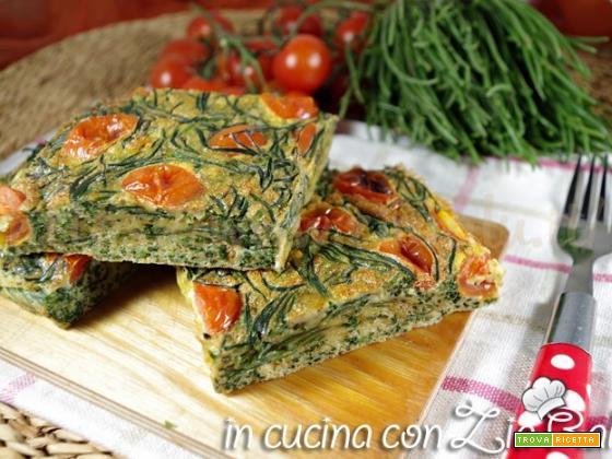 Frittata agli agretti e pomodorini al forno