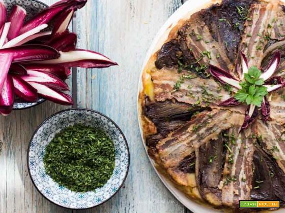 Tarte al radicchio tardivo di Treviso, topinambur e pancetta