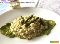 Risotto al tartufo bianco e asparagi su crema di asparagi e parmigiano
