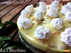 Torta budino con pesche sciroppate