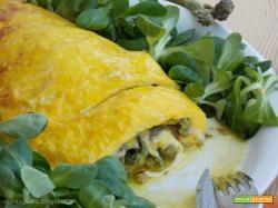 Omelette ripiena di formaggio e asparagi