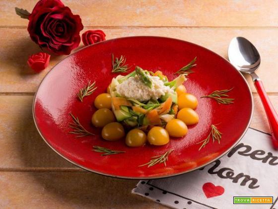 Festa della mamma: timballo di verdure con quenelle di mozzarella