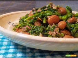 Broccoli con fagioli borlotti e salsiccia