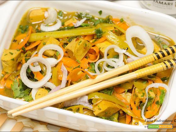Tofu alle verdure glassato con kuzu e cinque spezie cinesi