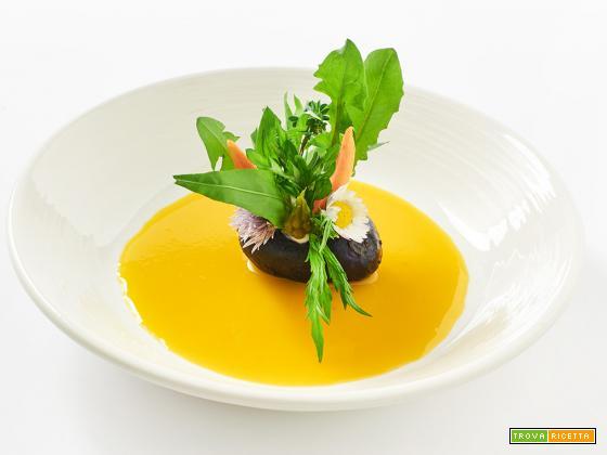 in un bel prato – patata ripiena con erbe spontanee e fagioli mame d'alpago