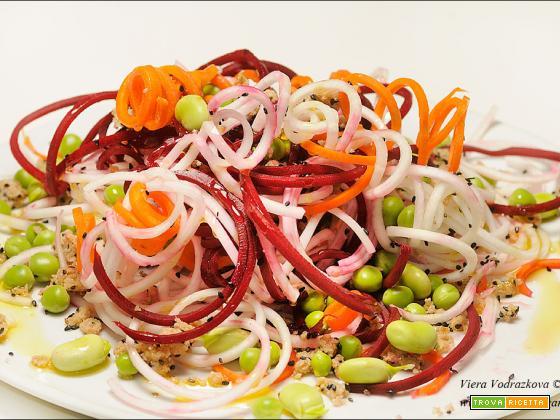 Tris di spaghetti con le verdure di primavera