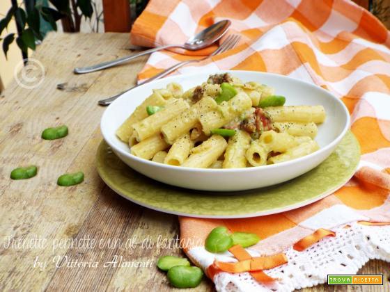 Tortiglioni con pesto di fave e zucchine