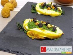 Caciotta piastrata su spinaci con pesto di rucola