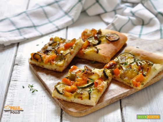 Pizza alle verdure e mozzarella
