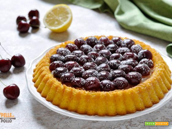 Crostata morbida alle ciliegie con crema all'acqua