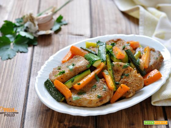Filetto di maiale in padella con verdure