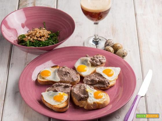 Crostini con patè di milza e uova di quaglia: un antipasto gustoso
