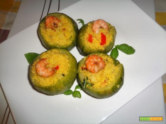 Ricetta – Zucchine ripiene con couscous e gamberi