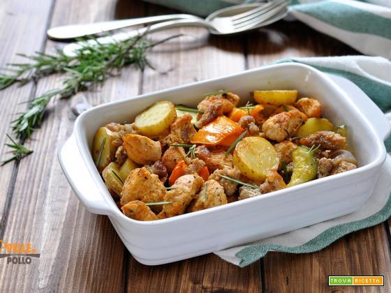 Bocconcini di tacchino al forno con verdure