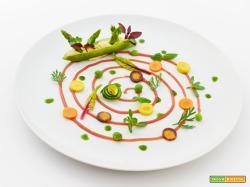 due passi nell'orto – bacelli ripieni su salsa di carote con verdure ed erbe dell'orto
