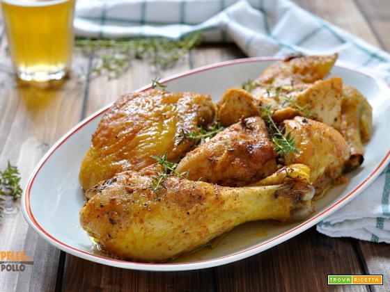 Pollo alla birra cotto al forno