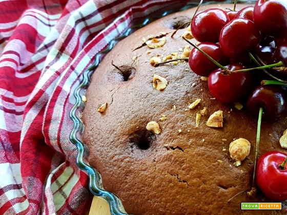 Torta al cacao, yogurt e ciliegie