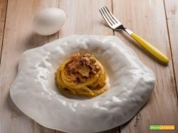 Spaghetti alla carbonara con uova di oca: per i buongustai!