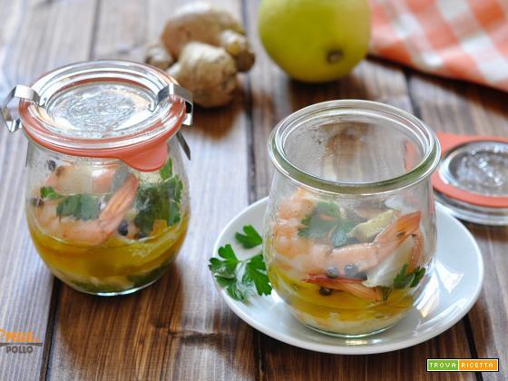 Gamberi con zenzero e limone in vasocottura