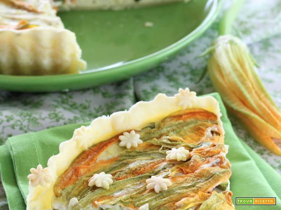 Quiche con Ricotta, Pesto, Zucchine e Fiori di Zucca