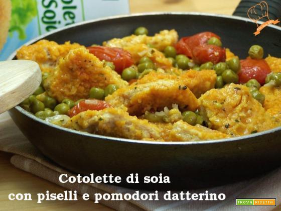 Cotolette di soia con piselli e pomodori datterino
