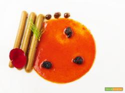 falso foie gras con acqua di pomodoro e anguria e prugne al balsamico