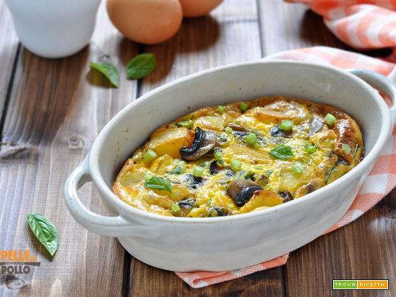 Clafoutis salato con funghi, patate e fagiolini