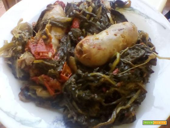 Salsiccia con cicoria selvatica